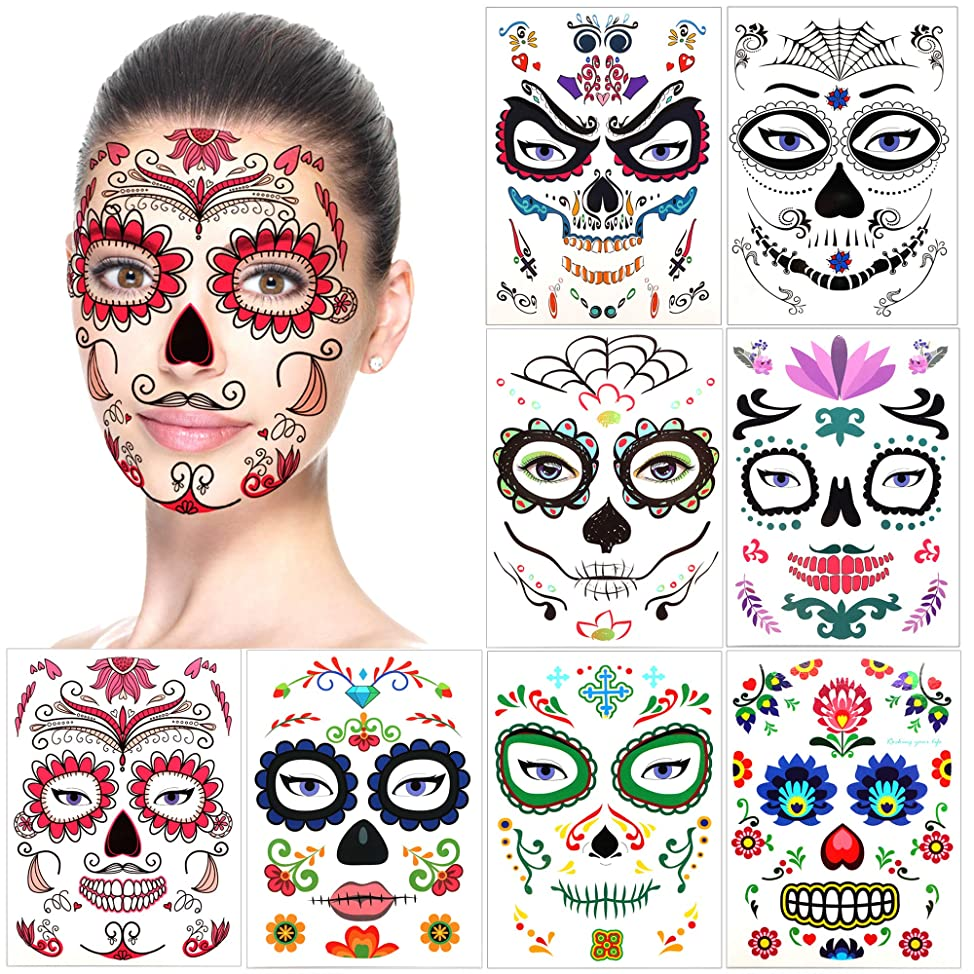Halloween Temporary Face Tattoos (8Pack), Konsait Day of the Dead Sugar Skull Floral Black Skeleton Web Red Roses Full Face Mask Tattoo for Women Men Adult Kids Boys Halloween Party Favor Supplies nwyomqsk893