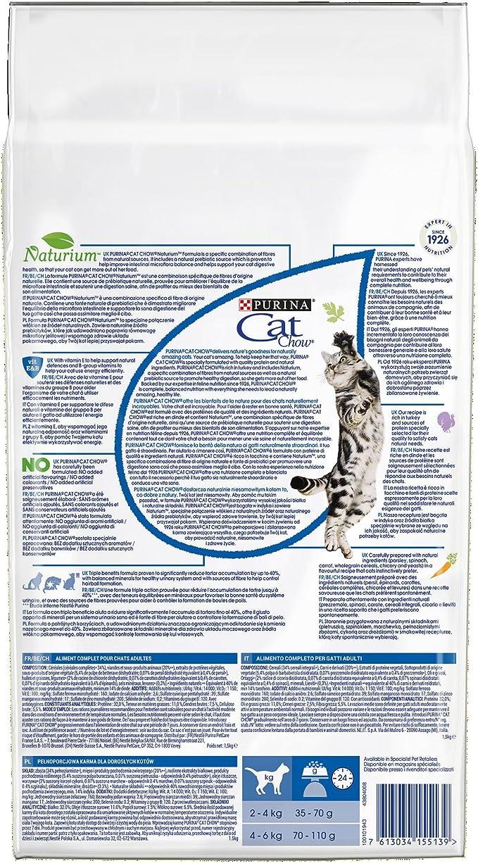 Purina Cat Chow Comida Seco para Gatos Adultos 3 en 1 Rico en Pavo - 1.5 Kg