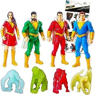 DC Comics Shazam Action Figure Set Shazam Playset - 4 Pack Shazam Toy Bundle Feturing Mary, Pedro, Freddy, and Shazam with...