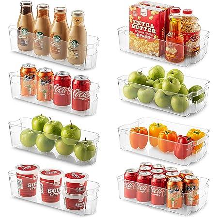 6 Pcs Plastic Fridge Organizer Bins with Ha z1s Details about  /Refrigerator Organizer Bins Set