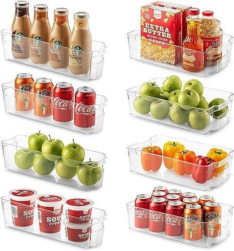 Juego de 8 cubos de organizador de refrigerador, 4 grandes y 4 pequeños organizadores apilables para frigorífico, coc...
