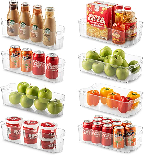Set Of 8 Refrigerator Organizer Bins 4 Large And 4 Small Stackable Fridge Organizers For Freezer Kitchen Countertops Cabinets Clear Plastic Pantry Storage Rack