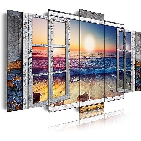 DekoArte 495 - Cuadros Modernos Impresión de Imagen Artística Digitalizada | Lienzo Decorativo Para Salón o Dormitorio | Estilo Paisajes Vistas Puesta de Sol en Playa desde Ventana | 5 Piezas 150x80cm