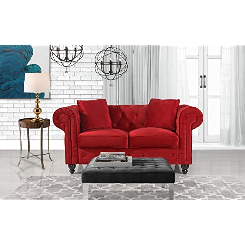 Red Velvet Sofa: Amazon.com