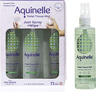 Aquinelle Toilet Tissue Mist, Eco-Friendly & Non-Clogging Alternative to Flushable Wipes Simply Spray On Any Folded Toilet...