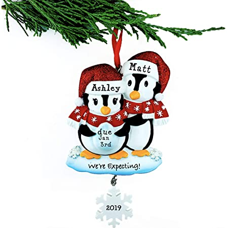 Amazon Com Personalized Expecting Penguins Christmas Ornament Baby Expecting Couple Kitchen Dining
