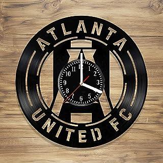 Atlanta United Soccer Club Vinyl Wall Clock Football MLS Georgia Five Stripes Art Home Style Decor Unique Gift idea for Him Her (12 inches)
