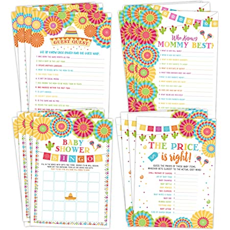 Fiesta Theme Baby Shower Games Printable Pack Taco Bout a Baby Shower Games Bundle Gender Neutral BbSG4 Mexican theme Baby Shower Game
