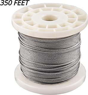 1/16 Stainless Steel Wire Rope 350 Foot Length, 7x7 Strand Core Aircraft Cable, 368 Lbs Breaking Strength, by HarborCraft