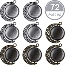 24 Pieces Moon Rotation Double-Faced Round Bezel Blank 18 mm Pendant Trays, with 48 Pieces Jewelry Settings Trays for Jewelry Making DIY Accessories (Silver, Antique Bronze)
