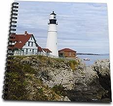 3dRose db_205713_2 USA, Maine, Portland. Portland Headlight Lighthouse on Rocky Shore. Memory Book, 12 by 12