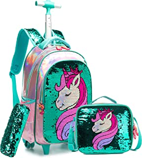 Meetbelify 3Pcs Rolling Backpack for Girls with Lunch Bag Pencil Case School Bags Wheeled Backpack