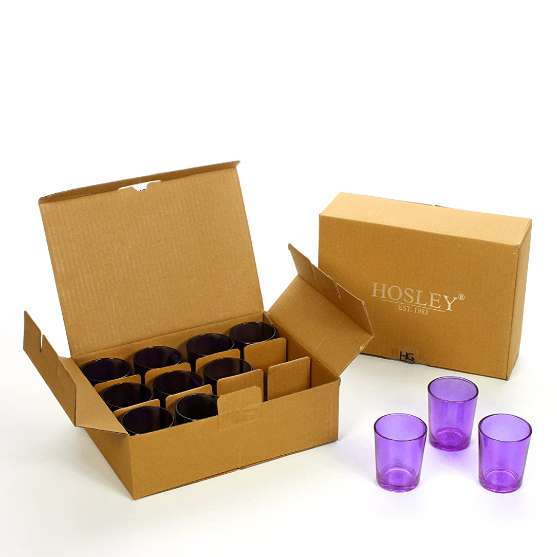 キャラバン恐怖ロックHosley's Set of 24 Purple Glass Votive/Tea Light Holders. Ideal for Weddings, Parties, Spa & Aromatherapy, Votive Candle Gardens. Use with Hosley Tea Lights, Bulk Buy