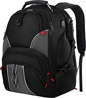 Large School Backpack,College Backpack for Men with USB Charging Port, TSA Friendly Travel Laptop Backpack with Luggage Sleeve for Teen Boys,Water Resistant 17 Inch Laptop Backpack 50L ,Black