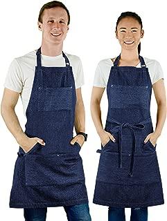 MultiExpression Chef Apron Blue - Denim Apron for Men Unisex BBQ Aprons for Men 7 Utility Pockets Kitchen Apron Bartender Apron Mens Apron Chefs Apron Gifts Apron for Men Women Adjustable S to XXL