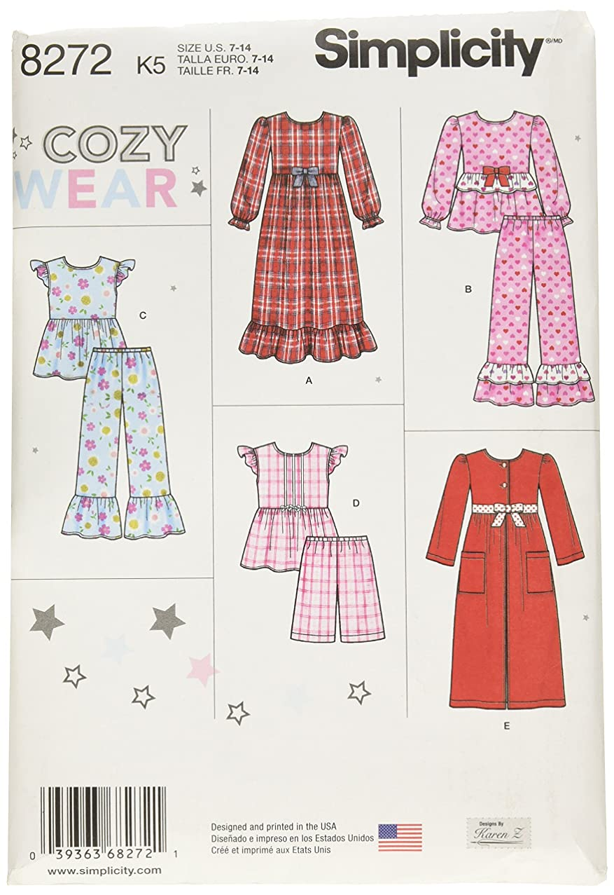 Simplicity 8272 Girl's Sleepwear and Robe Sewing Pattern, Sizes 7-14