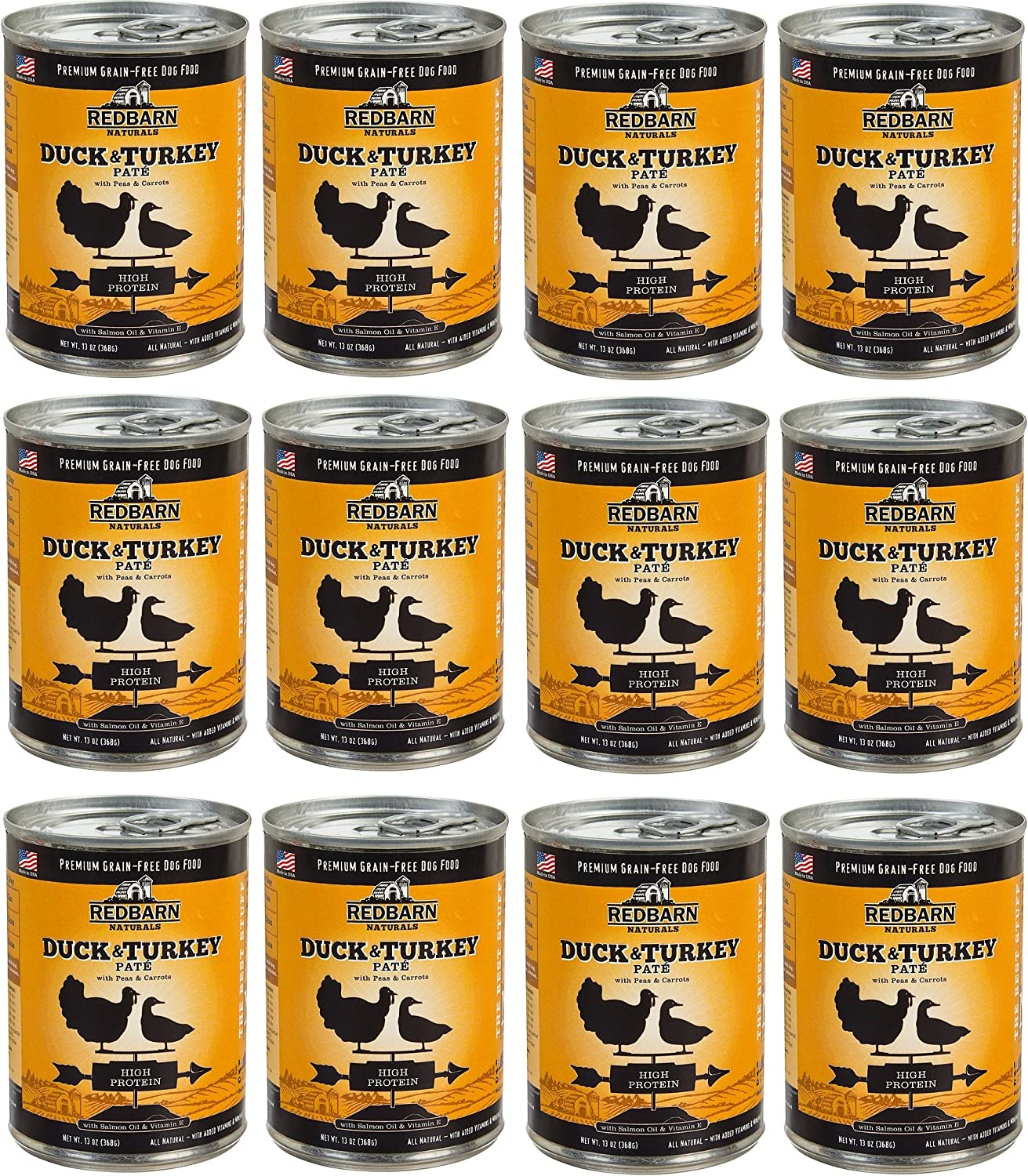 Redbarn Naturals Duck & Turkey Pate High Predein GrainFree Canned Dog Food, 13oz, case of 12