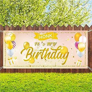 Sunshine Happy Birthday Yard Sign for Women, Rose Gold HONK IT'S My Birthday Quarantine Banner 71''x40'', Large Fabric Han...