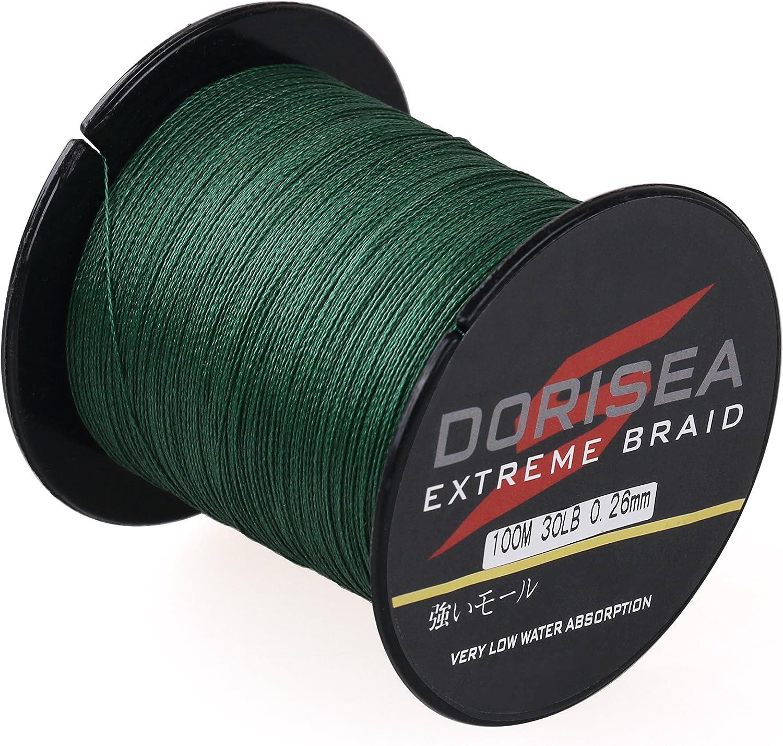 (2000m 2187Yards 18kg 0.32mm)  Dorisea Extreme Braid 100%Pe Braided Fishing Line 109Yards2187Yards 2.7140kg Test Moss Green