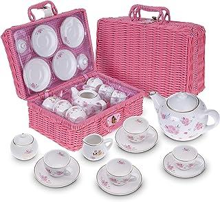 Jewelkeeper - Service à Thé en Porcelaine avec Panier pour Petites Filles, Dînette pour Enfants, 13 pièces - Design Floral