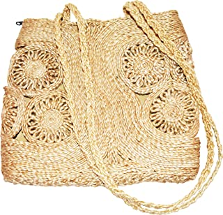 Bengal Handicrafts & Handlooms Women's Natural Golden Jute Designer Stylish Model Handbags for Casual Shopping and Office Use