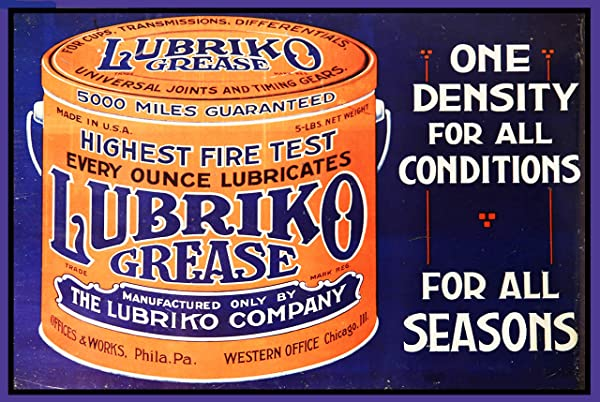 TYmall Door Sign Lubriko Grease Motor Oil Reproduction Garage Shop Metal Sign Retro Metal Tin Sign 8X12 Inch