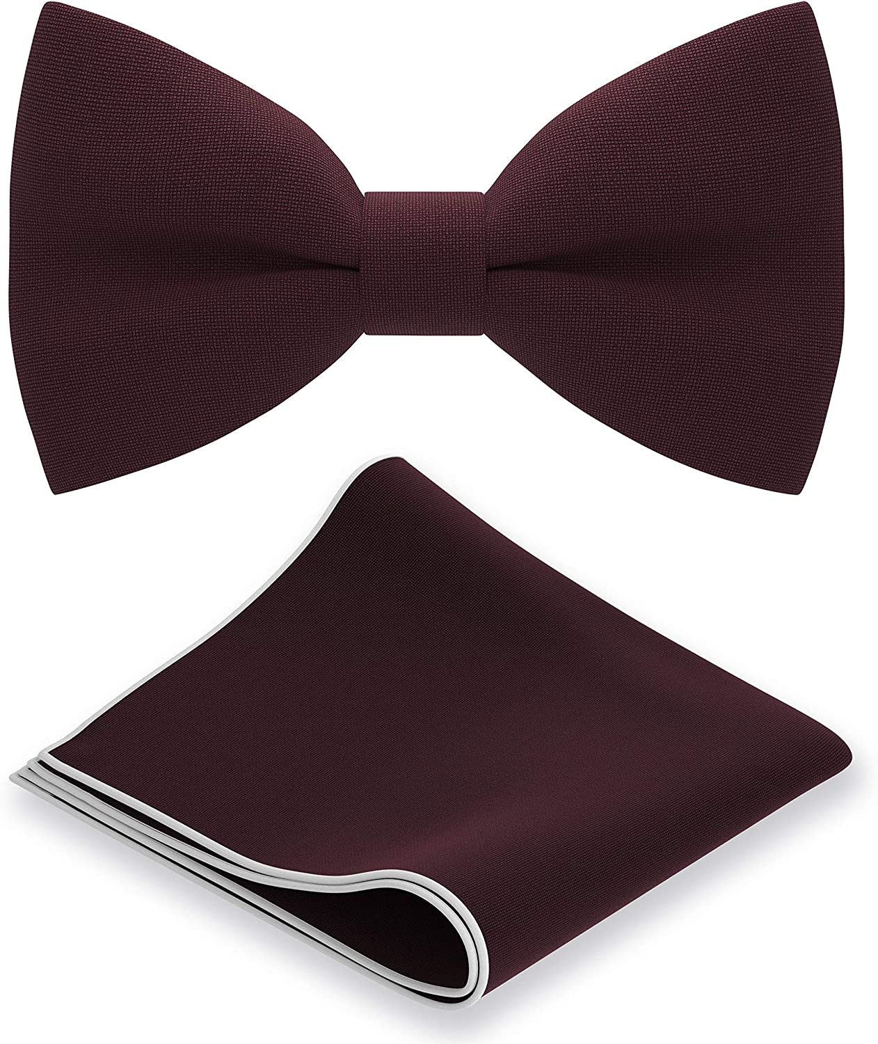 Classic Pre-Tied Bow Tie Set Formal Pocket Square Solid Hanky Tuxedo with Handkerchief set, by Bow Tie House
