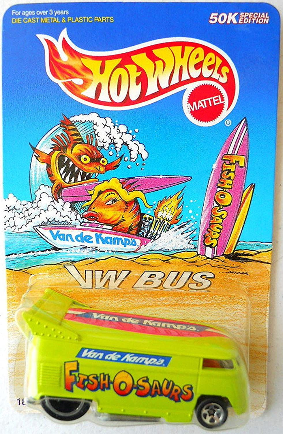 Hot Wheels - 50k Special Edition - Van de Kamp's - Fish O Saurs - Volkswagen (VW) Bus - 1 64 Scale Collector Vehicle - Light Green Body color by Hot Wheels