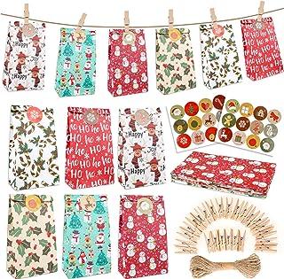 Konsait 24pcs Christmas Advent Calendar Bags, Christmas Paper Bags, DIY Advent Calendars to Fill, Christmas Countdown Deco...
