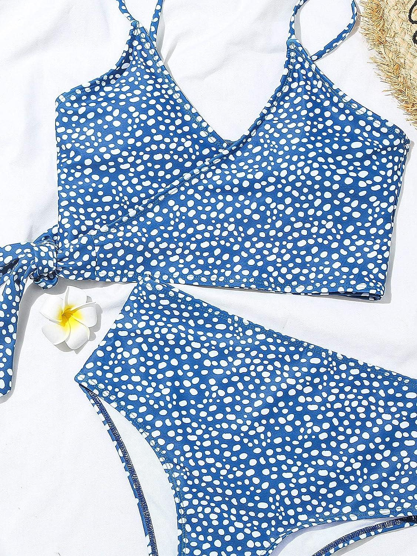 SOLY HUX Women's Polka Dots V Neck Wrap Tie Side Bikini Bathing Suits 2 Piece Swimsuits