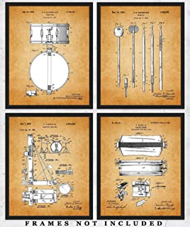 Vintage Drums Patent Wall Art Prints: Unique Room Decor for Boys, Men, Girls & Women - Set of Four (8x10) Unframed Pictures - Great Gift Idea for All Drummers and Music Lovers!
