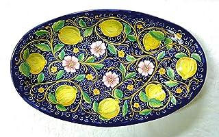 Piatto da portata ovale in maiolica Decoro Fiori e Limoni fondo blu di Deruta cm. 60x45x20 ceramica artistica Deruta reali...