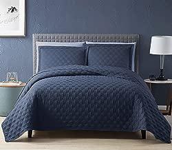 EXQ Home Quilt Set Full Queen Size Navy 3 Piece,Lightweight Hypoallergenic Microfiber Coverlet Modern Style Onion Flower Pattern Bedspread Set