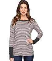 Mod-o-doc - Brushed Slub Stripe Long Sleeve Tee w/ Heather Contrast