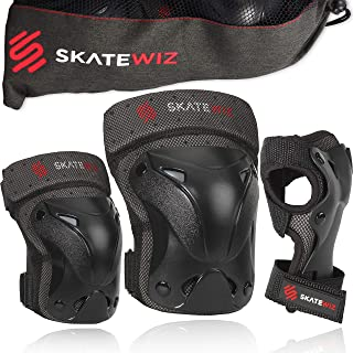 SKATEWIZ Protect-1 Skateboard Accessories Skate [6pcs] Elbow Pads Knee Pads for Women and Men - Elbow and Knee Pads Kids Wrist Guards Knee Savers