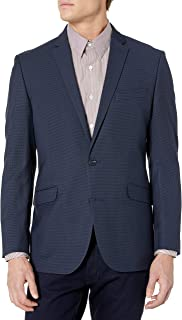 Kenneth Cole Reaction Men's Slim Fit Blazer, Navy Micro Grid, 46R