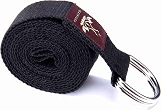 Heathyoga Yoga Strap Made from Durable Cotton with Adjustable D-Ring, Improve Flexibility & Strength for Yoga Stretching Fitness and Physical Therapy Length 8ft