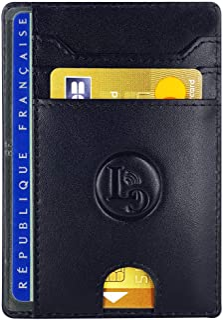 LuxyGo - Porte Carte De Credit et Pièce Identité - Protection Cartes Bleue sans Contact - Petit Etui Cuir Slim Protege Con...