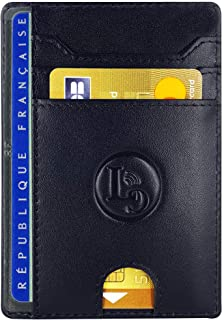 Porte Carte De Credit et Pièce Identité Minimaliste - Protection Cartes Bleue sans Contact - Petit Etui Cuir Slim Protege ...