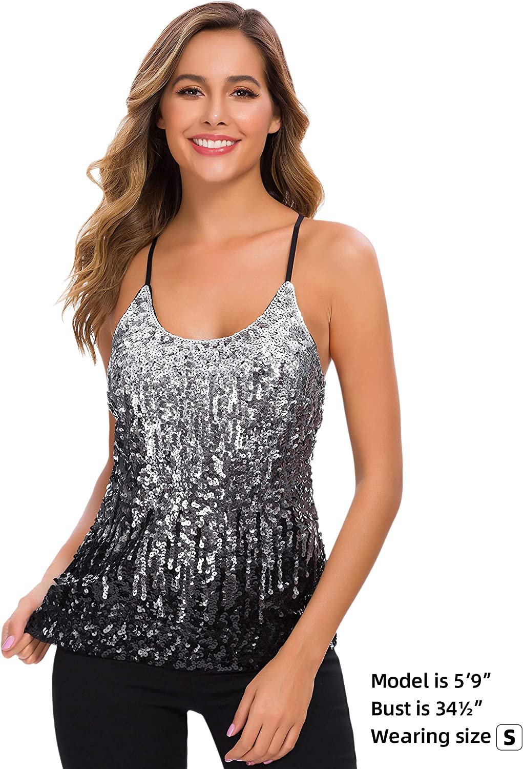 MANER Women's Sequin Tops Glitter Party Strappy Tank Top Sparkle Cami