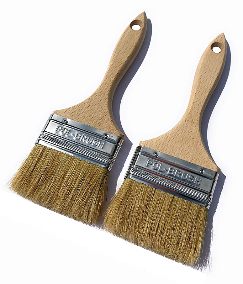 2 Pack - 3 inch European Paint Brushes - Natural Bristle/Wood Handle - for Professional & Amateur Paint Job; for All Latex & Oil Base Paints, Stains, Varnish, Shellac & Wax. (2Pack 3