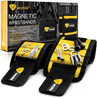 Wizsla Magnetic Wristband for Holding Screws, Tools, Set of 2 Sizes, Unique Christmas Gift for Men, Dad, Father, Husband, DIY Handyman, Him/Her, Women (Yellow)