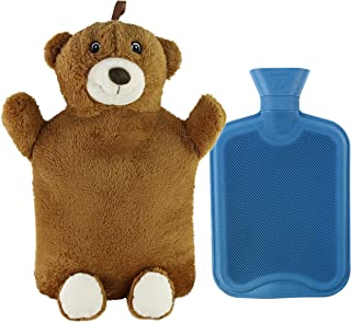 Athoinsu Animal Rubber 2L Hot Water Bottle with Cute Brown Plush Teddy Bear Cover for Girls Women Children (Bear)
