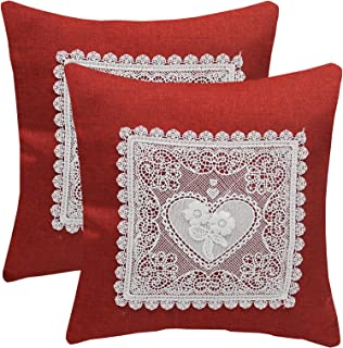 KYJS Pack of 2 Artificial Linen Pillowcases with lace Flower Home Decor Square Cushion Cover for Sofa Bedroom 18x18inch,Wi...
