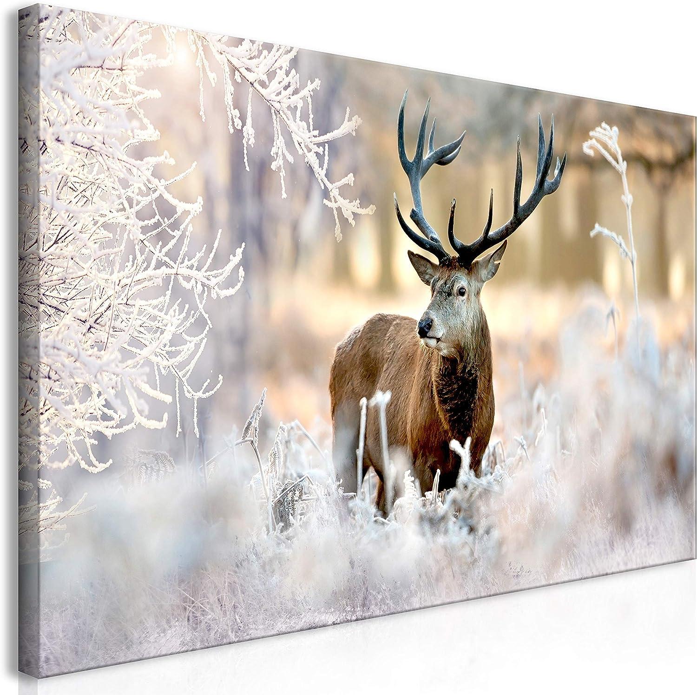 Murando Mega XXXL Hirsch Wandbild 160x80 cm - Einzigartiger XXL Kunstdruck zur Selbstmontage Leinwandbilder Moderne Bilder Wanddekoration - Deer Landschaft Winter g-C-0057-ak-f