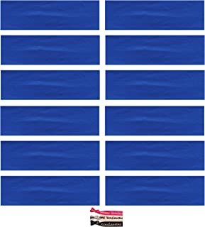 Kenz Laurenz Soft and Stretchy Elastic Cotton Headbands, (Pack of 12) - Blue