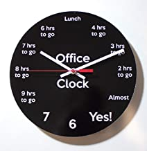 "Funny Office Clock: Countdown to 5pm - 10"" Handmade Wall Clock"