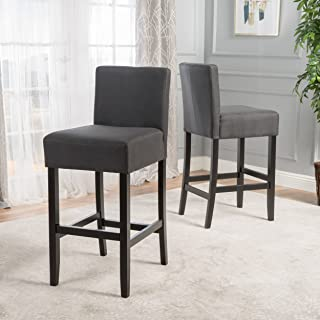 Christopher Knight Home Prim Backed Fabric Barstools (Set of 2) (Dark Charcoal)