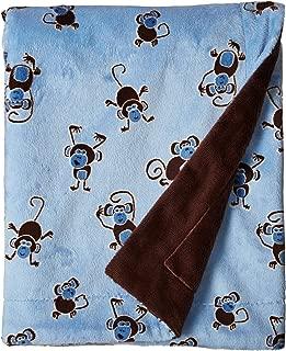 Lil' Cub Hub Monkey Print with Smooth Minky, Medium Baby Blanket, Blue/Brown, 29