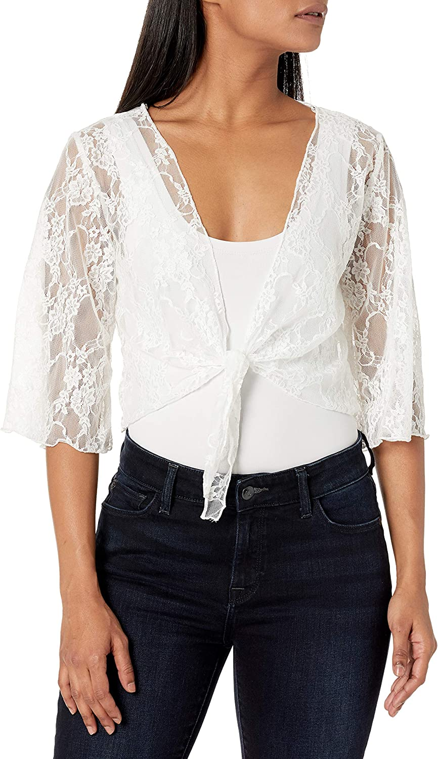 Star Vixen Women's Petite 3/4 Sleeve Stretch Lace Tiefront Shrug Sweater